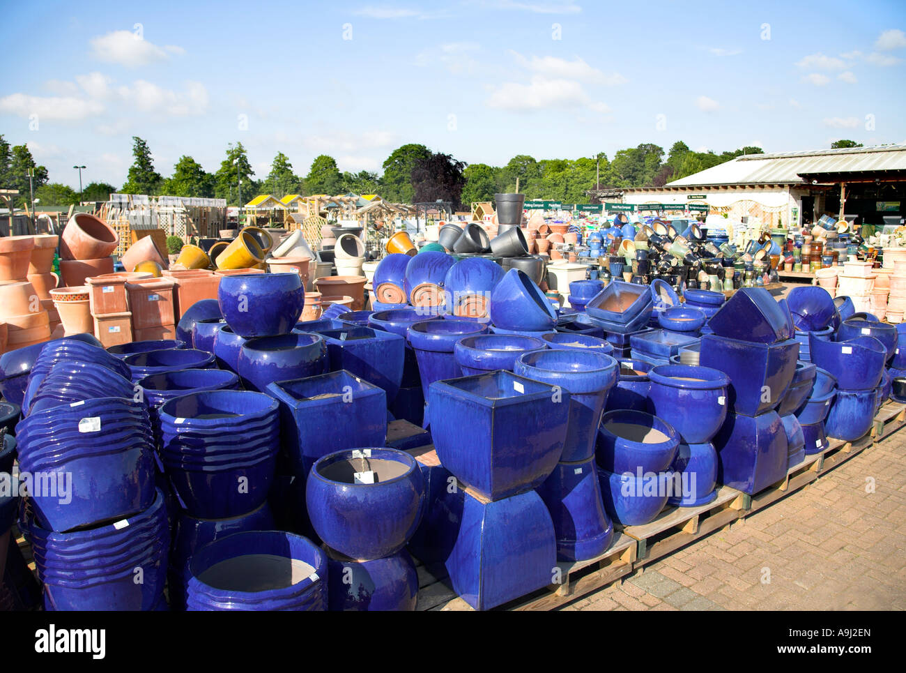 Blue Flower Pots For Sale In A Garden Centre Stock Photo
