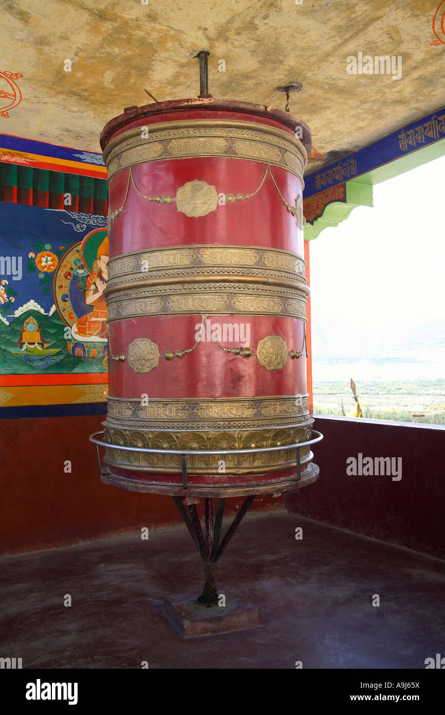 Prayer wheel of thiksey gompa, Ladakh, Jammu Kashmir, India - Stock Image