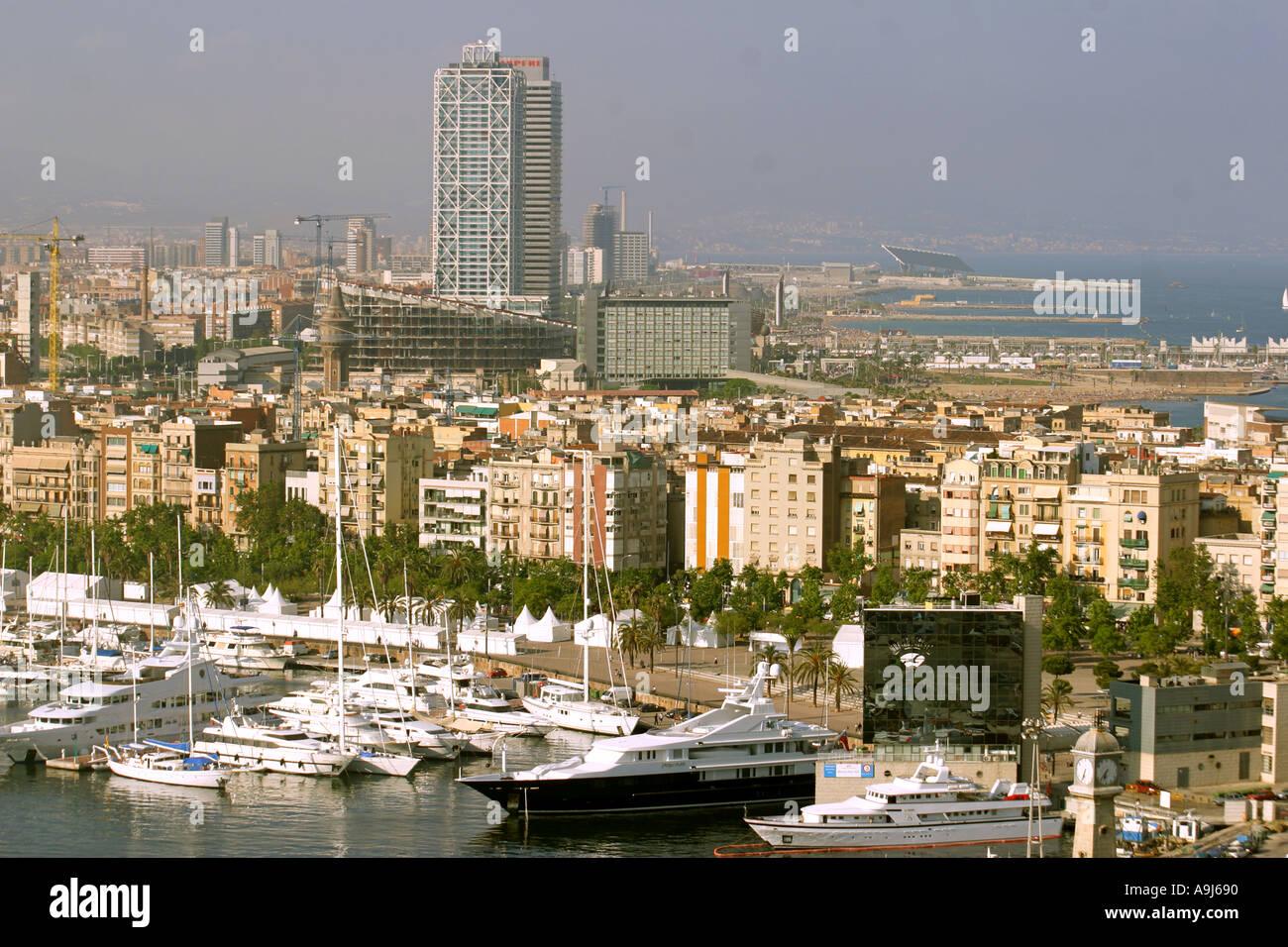ESP Spain Barcelona harbour Barceloneta skyline teleshot - Stock Image
