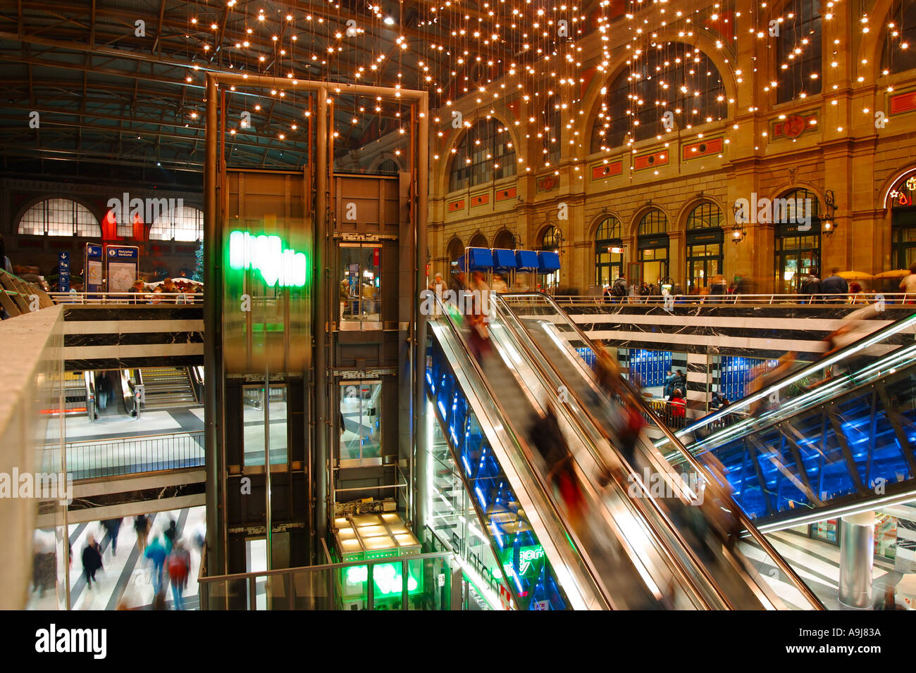 Switzerland Zurich main station hall chirstmas lights indoor - Stock Image