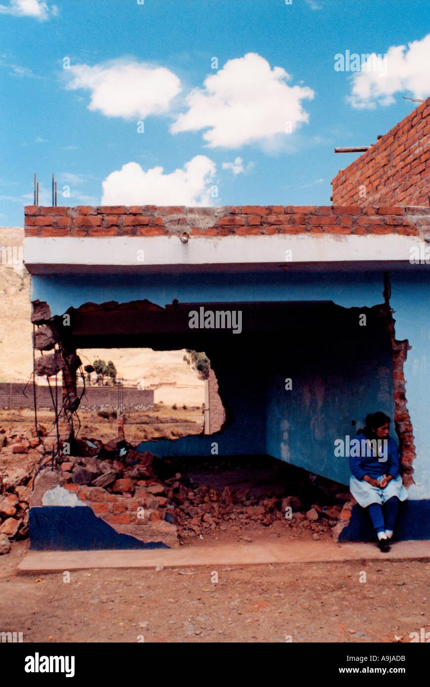 Demolished house Peru South America - Stock Image