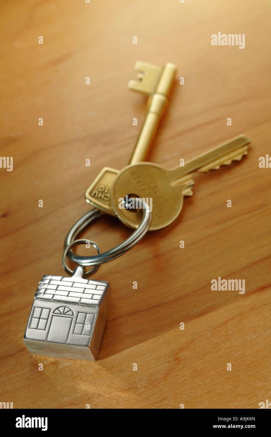 House keys on key shaped keyring Stock Photo