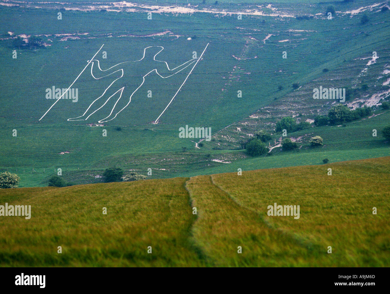 Figure of a man cut into the chalk hillside of the South Downs at Wilmington Sussex Southern England Stock Photo