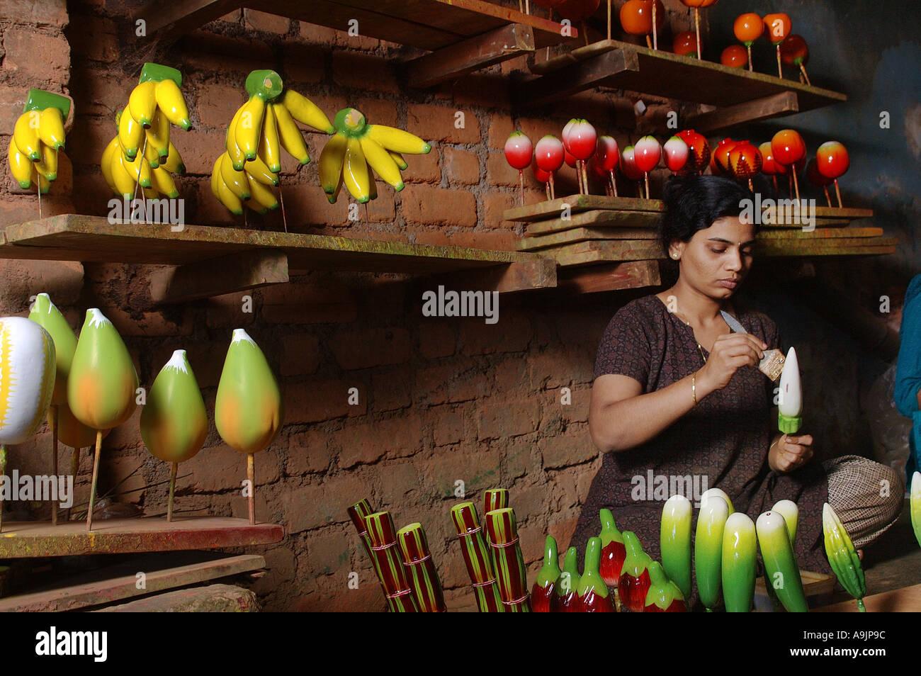 Ang99192 Artist Painting Wooden Fruits Sawantwadi Maharashtra India