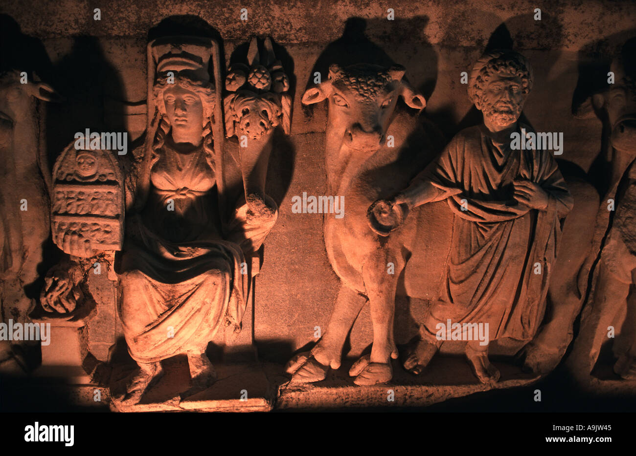 Antiquities from the Roman period on display in the Sarcophagus Room of Antalya Regional Museum Antalya Turkey - Stock Image