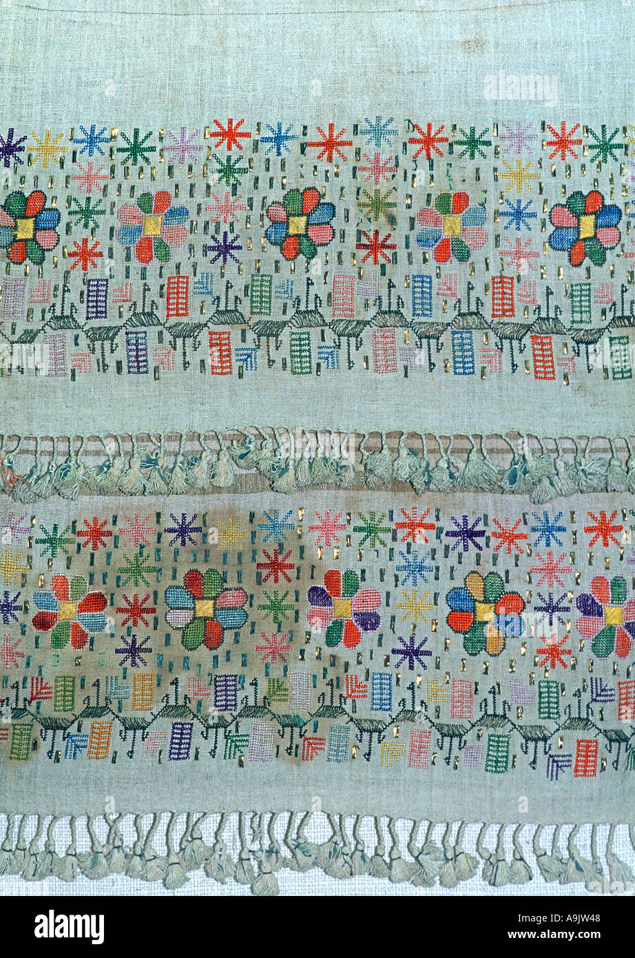 Ethnographic embroidery from the Antalya region Silk and cotton embroidery Antalya Turkey - Stock Image
