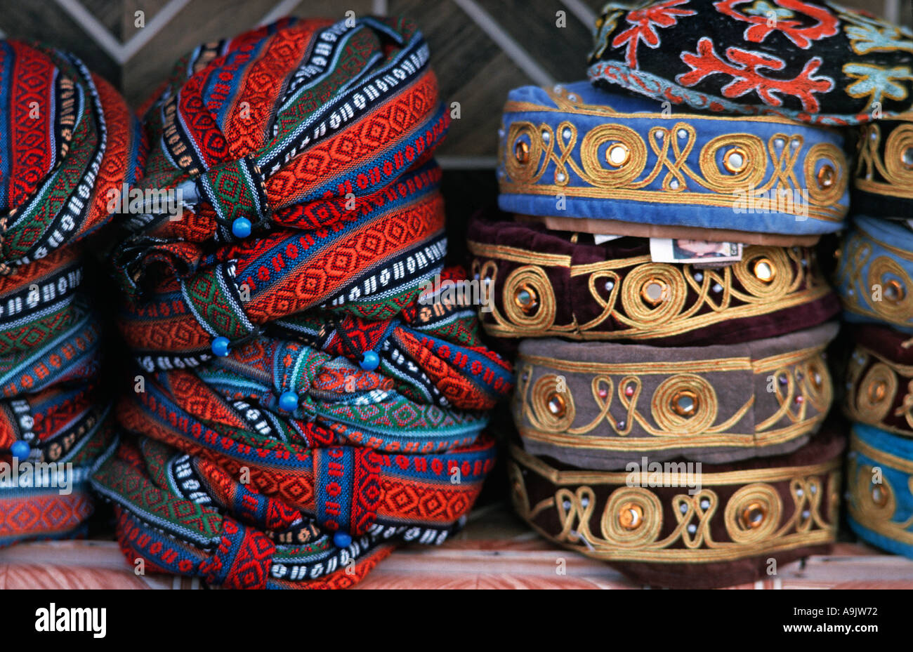 Detail of stacks of woven hats for sale at souvenir market in the Zelve valley Cappadocia Turkey - Stock Image