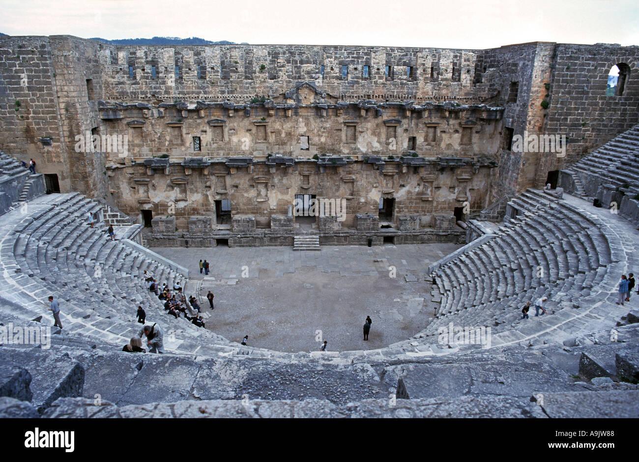 The Roman ampitheatre at Side near Antyalya Turkey - Stock Image