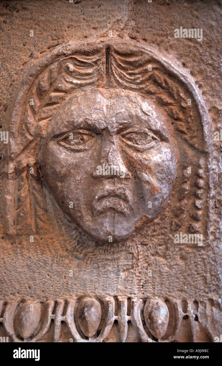 Roman architectural detail of a face Roman ampitheatre at Side near Antalya Turkey - Stock Image