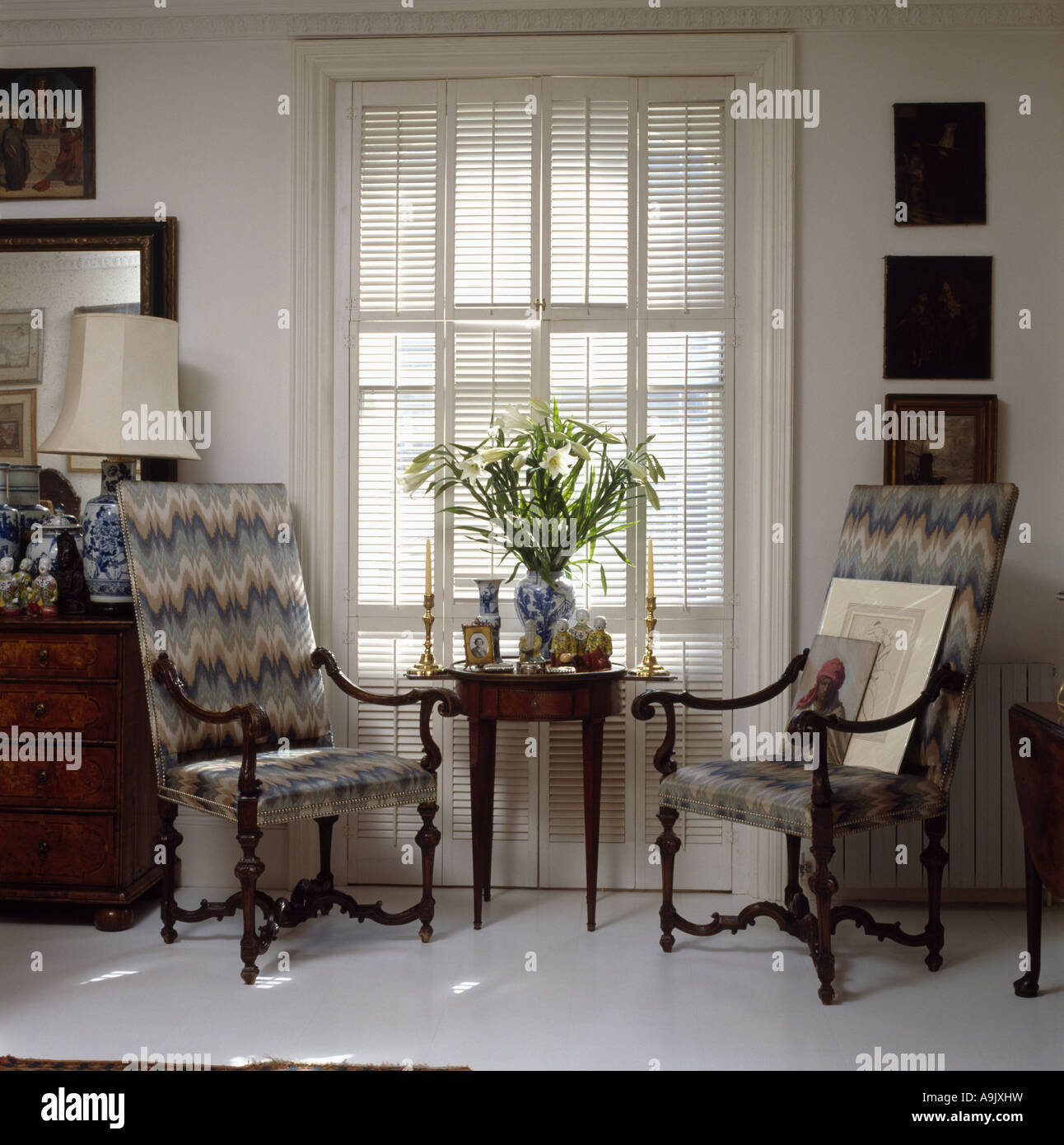 Florentine Pattern Upholstered Chair And Small Antique Table