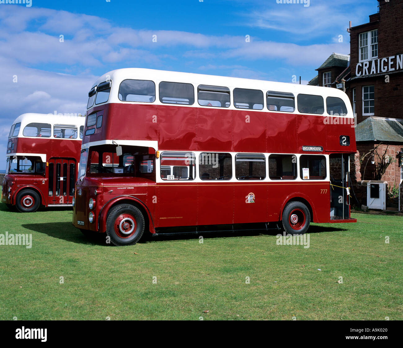 Preserved Double Decker Bus Dunbar East Lothian Scotland - Stock Image