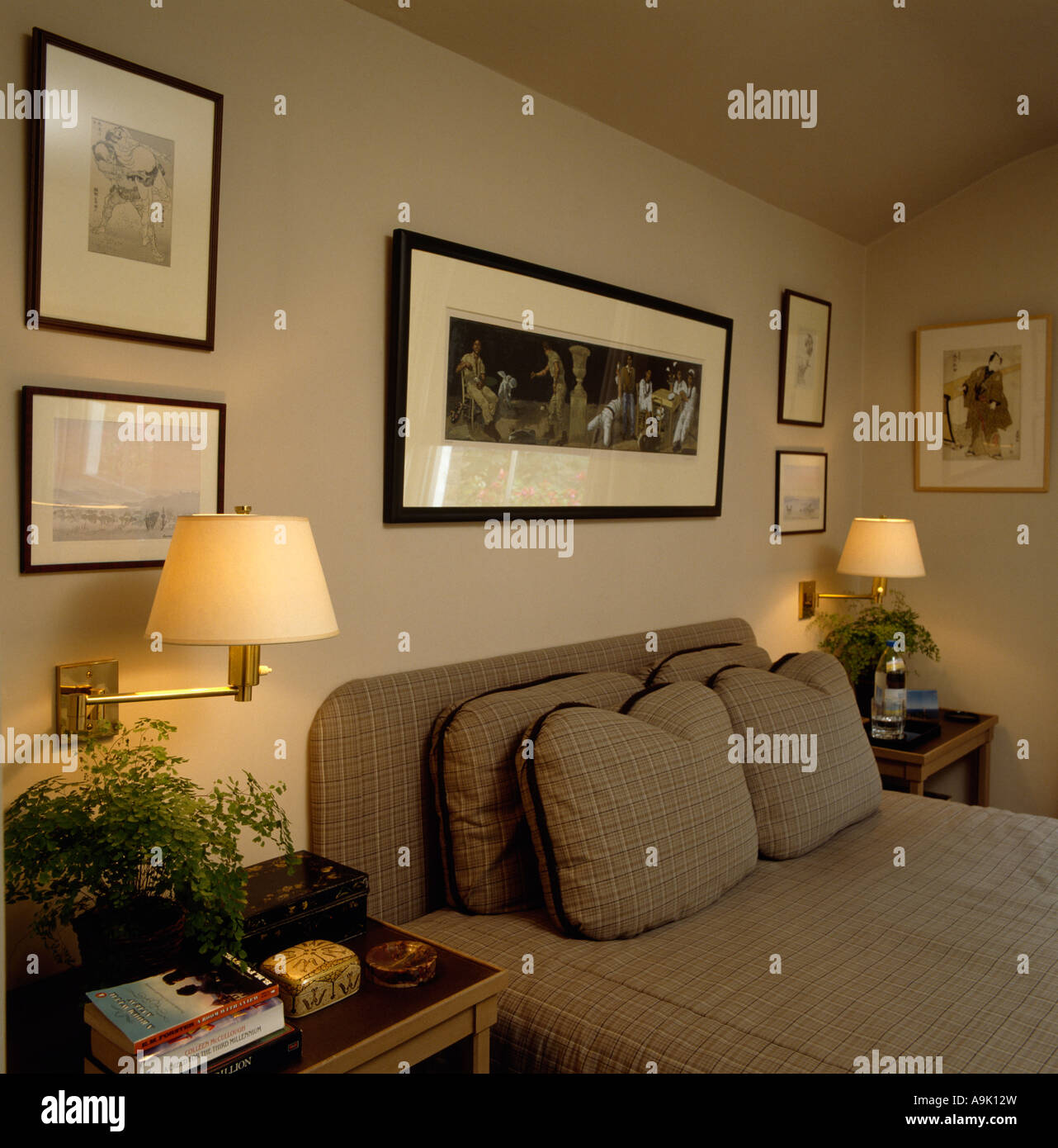 Wall lights on either side of picture above bed with tailed cushions wall lights on either side of picture above bed with tailed cushions and cover aloadofball Gallery