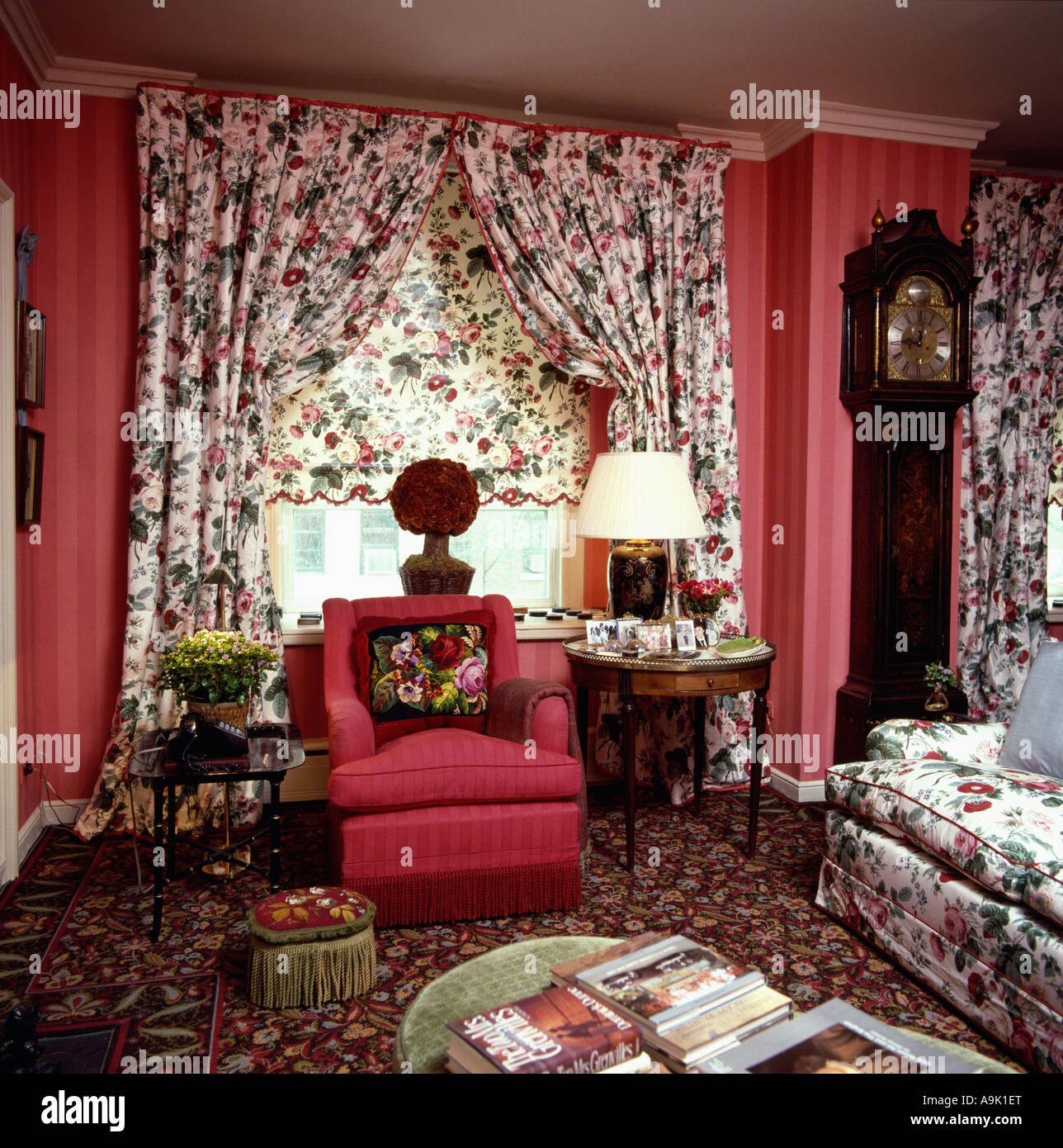 Floral Patterned Curtains And Blind In Red Eighties Livingroom With Red  Armchair And Floral Sofa