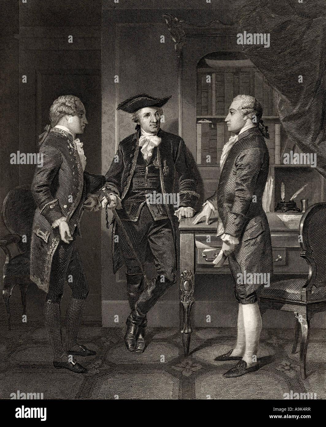 Johann Henry Jules Alexandre von Robaii Baron de Kalb 1721 to 1780 centre introducing Lafayette to Silas Deane - Stock Image