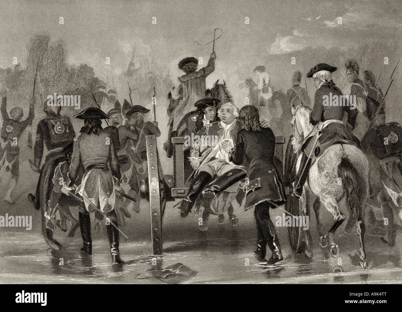 Mortally wounded, General Edward Braddock, 1695 - 1755, retreats from the Monongahela River in 1755. - Stock Image