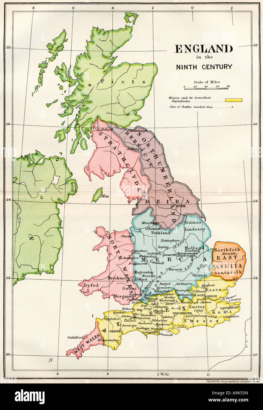 9th Century England Map Map of England in the Ninth Century Stock Photo: 12385784   Alamy