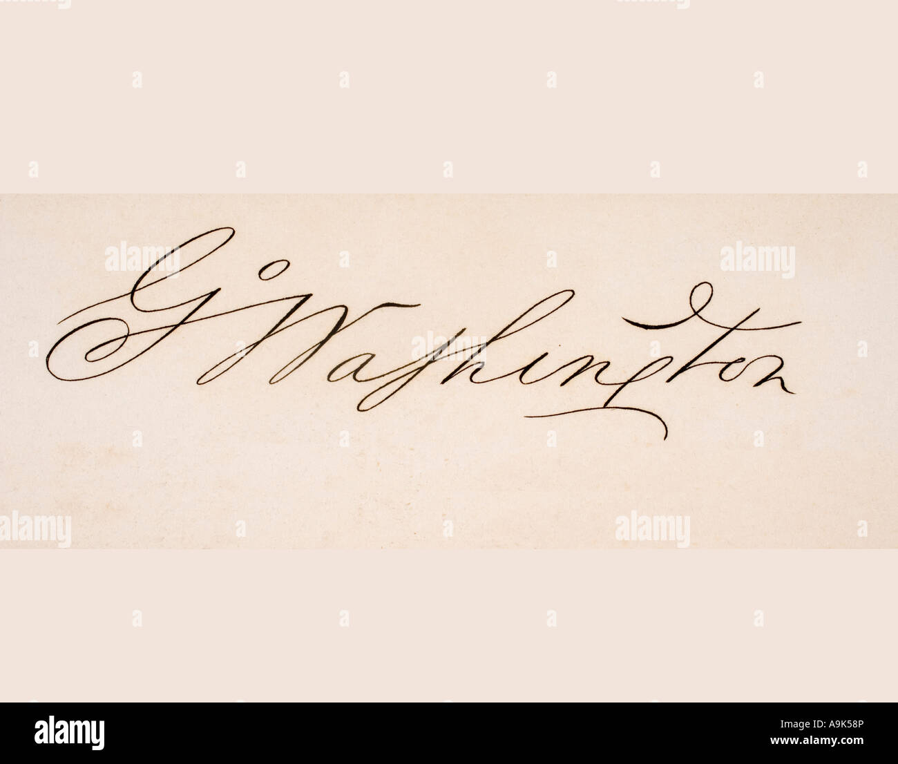 Signature of George Washington 1732 to 1799 First President of the United States of America Father of the Nation - Stock Image