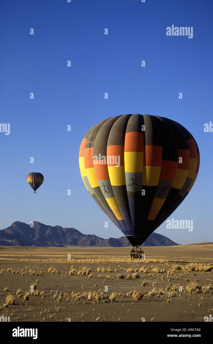 Two hot air balloons flying in the Namib Naukluft National Park Namibia south west Africa - Stock Image