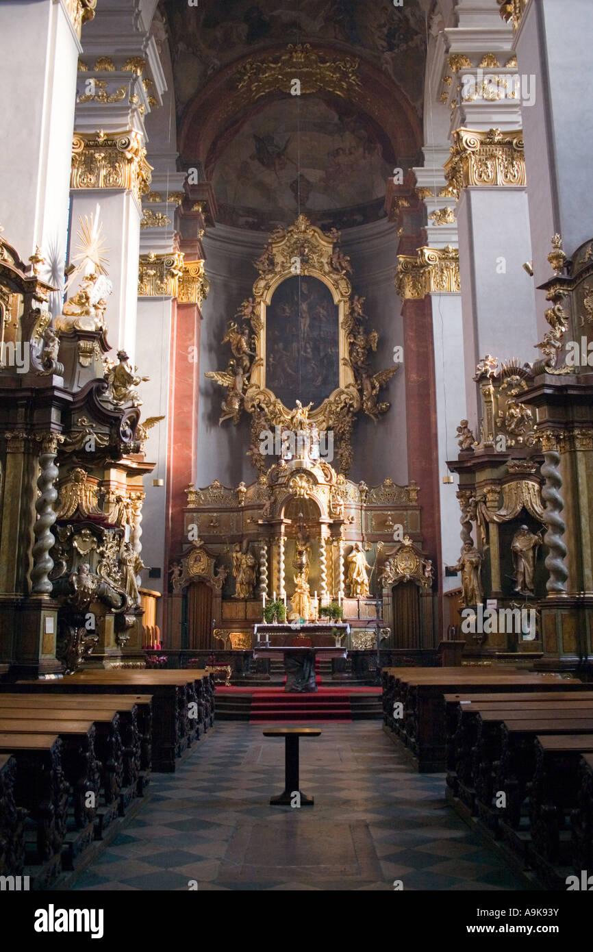 Inside a church in Prague Stock Photo