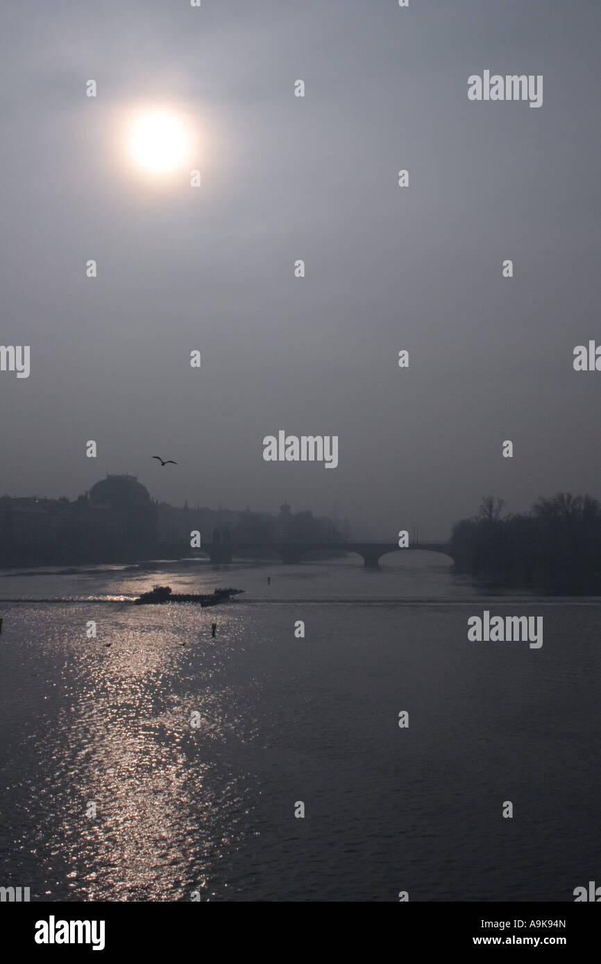 View from Charles bridge in Prague Stock Photo