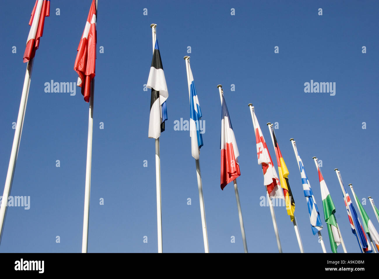 flags of different countrys in front of the eurorean council, France, Alsace, Strasbourg - Stock Image