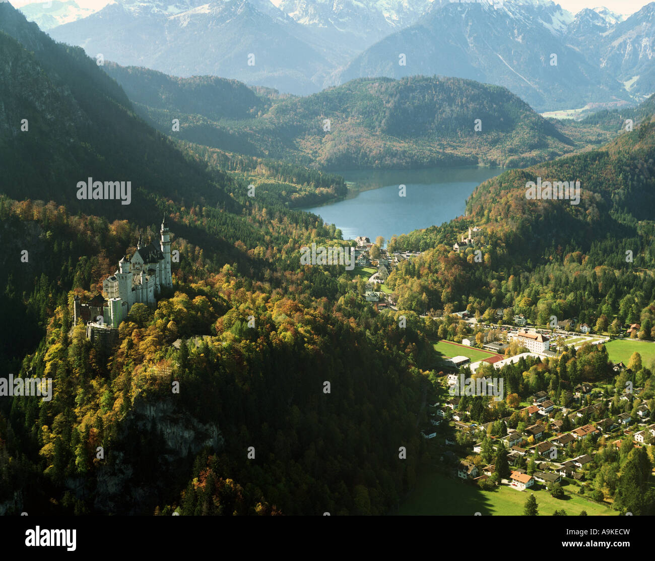 Neuschwanstein Castle, build by King Ludwig II of Bavaria, Alpsee in the background, Germany, Bavaria, Allgaeu, - Stock Image