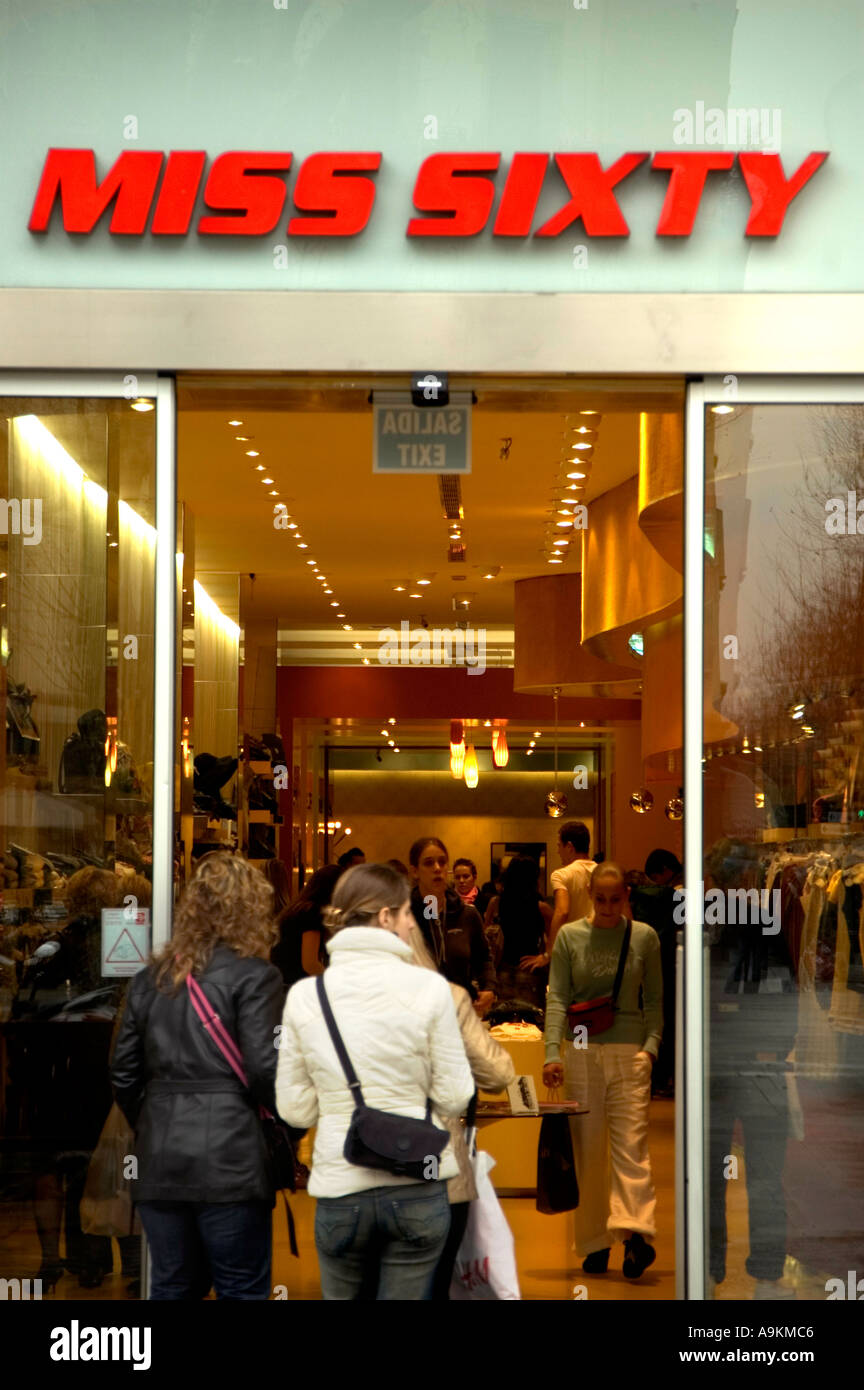 TRENDY CLOTHES SHOP CHAIN STORE MISS ˆSIXTY ON PASSEIG DE GRÀCIA BARCELONA SPAIN EU Stock Photo