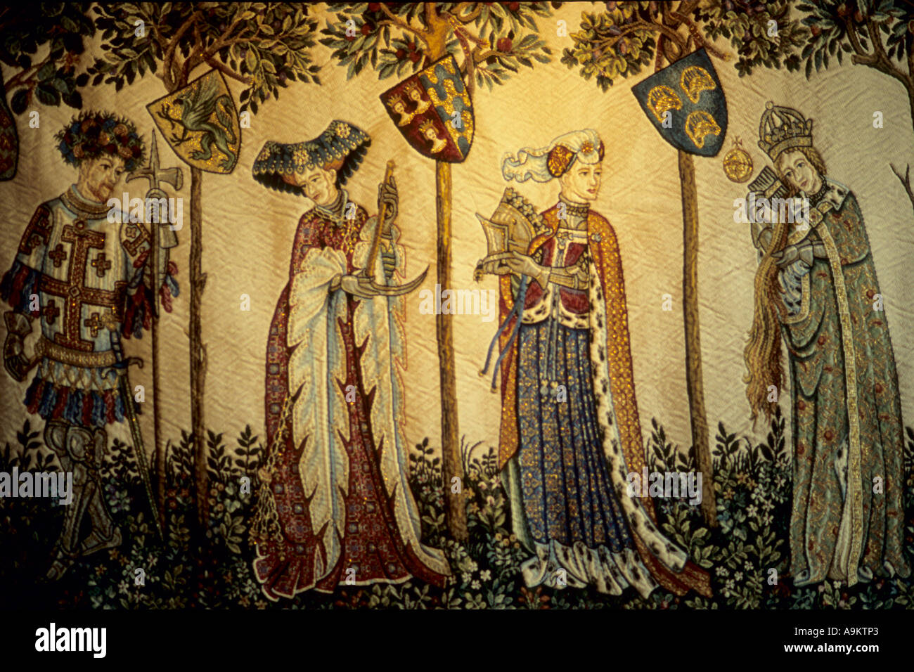 France Loire Valley Langeais castle interior tapestry - Stock Image
