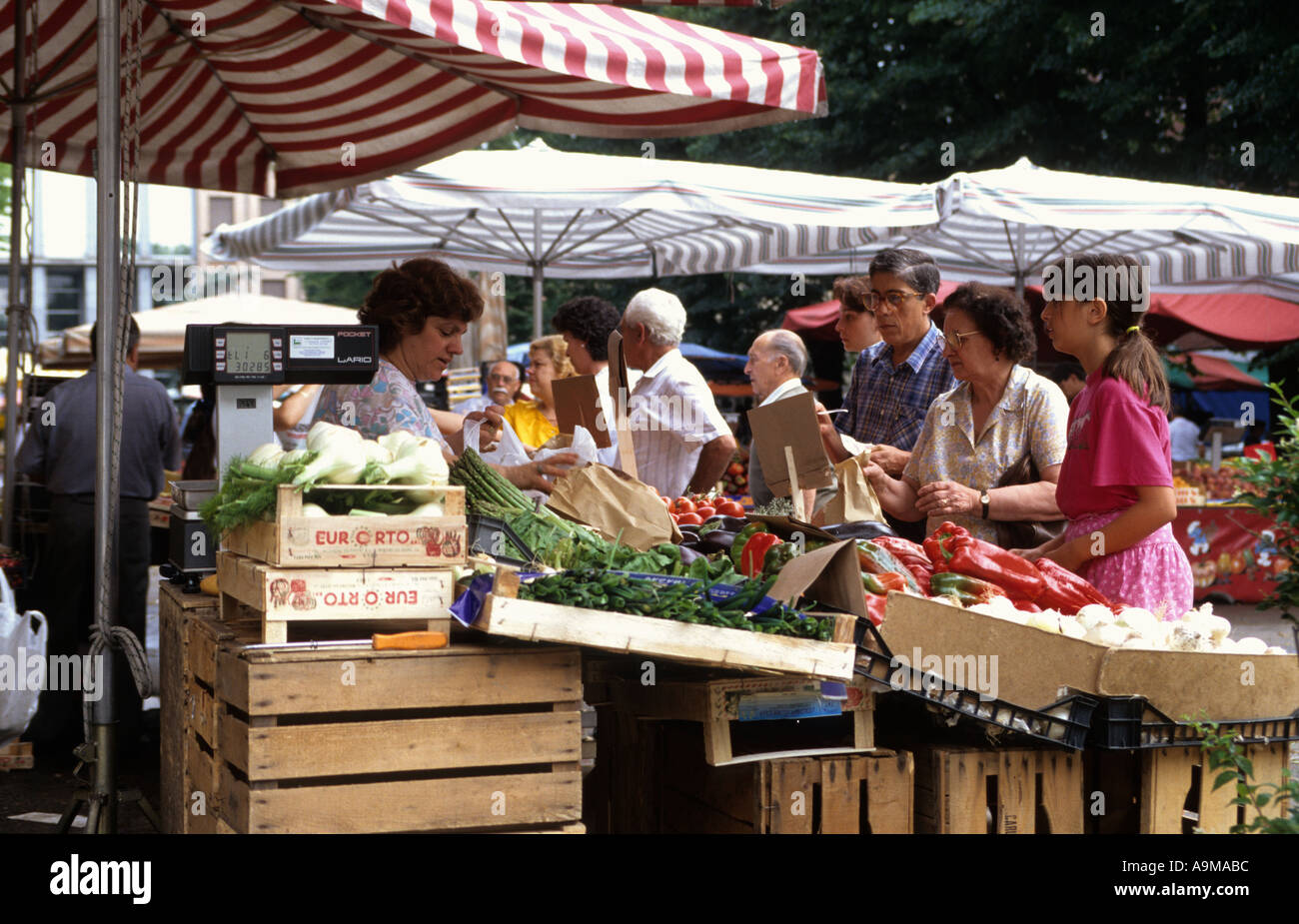 young saleslady looking a bit like th Mona Lisa on a fruit a vegetable stall on a market Asti Langhe Piemont Italy Stock Photo