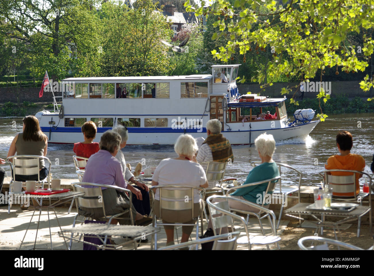 Riverside towpath & trees with people sitting at waterside cafe tables watching passing River Thames tour boat - Stock Image
