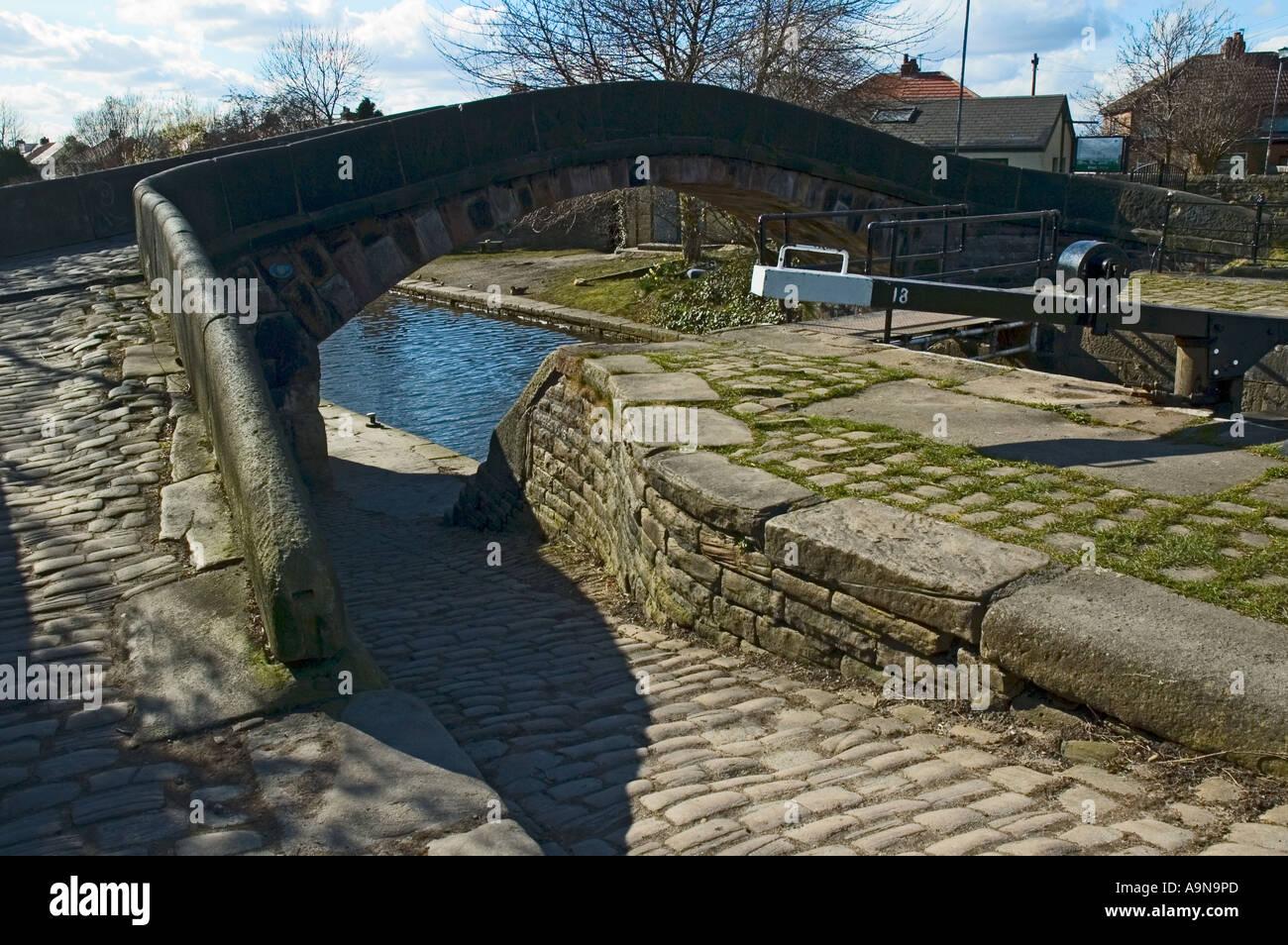 Footbridge at Fairfield Locks, on the Ashton Canal at Droylsden, Tameside, Manchester, England, UK - Stock Image