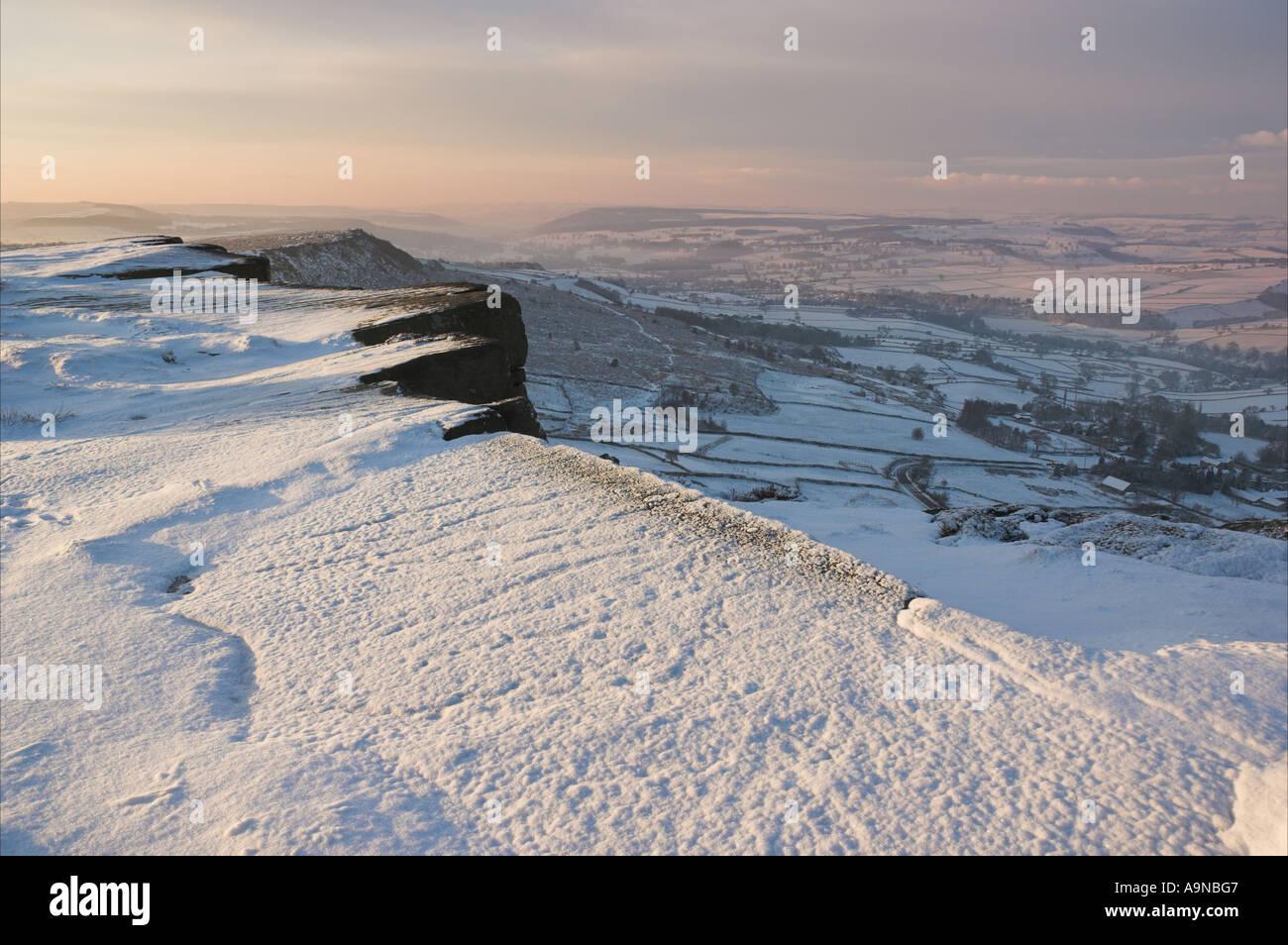 fresh snow Froggatt edge Derbyshire Peak district national park England UK GB EU Europe Stock Photo