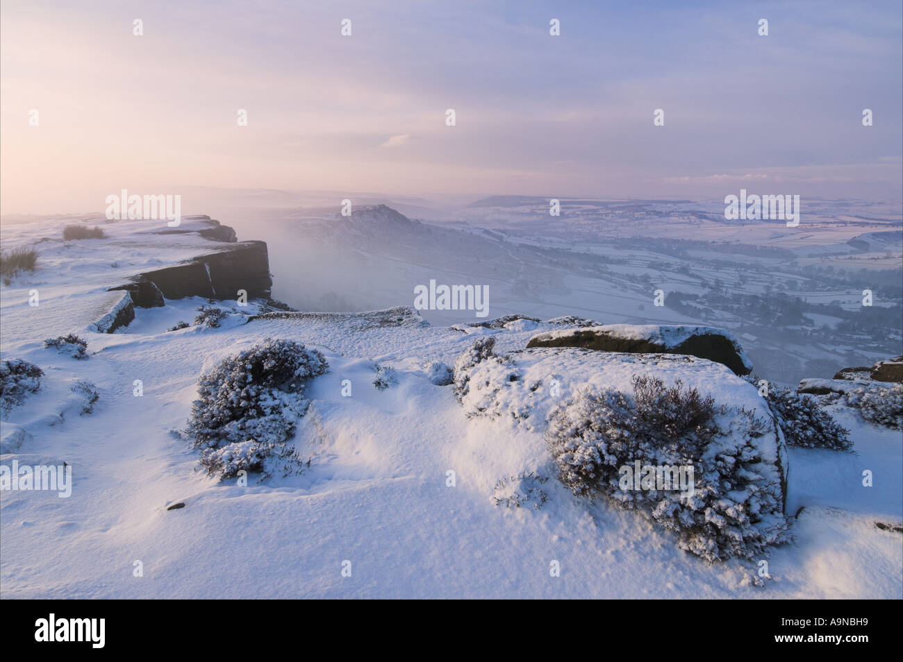 fresh snow Froggatt edge Derbyshire Peak district national park England UK GB EU Europe Stock Photo