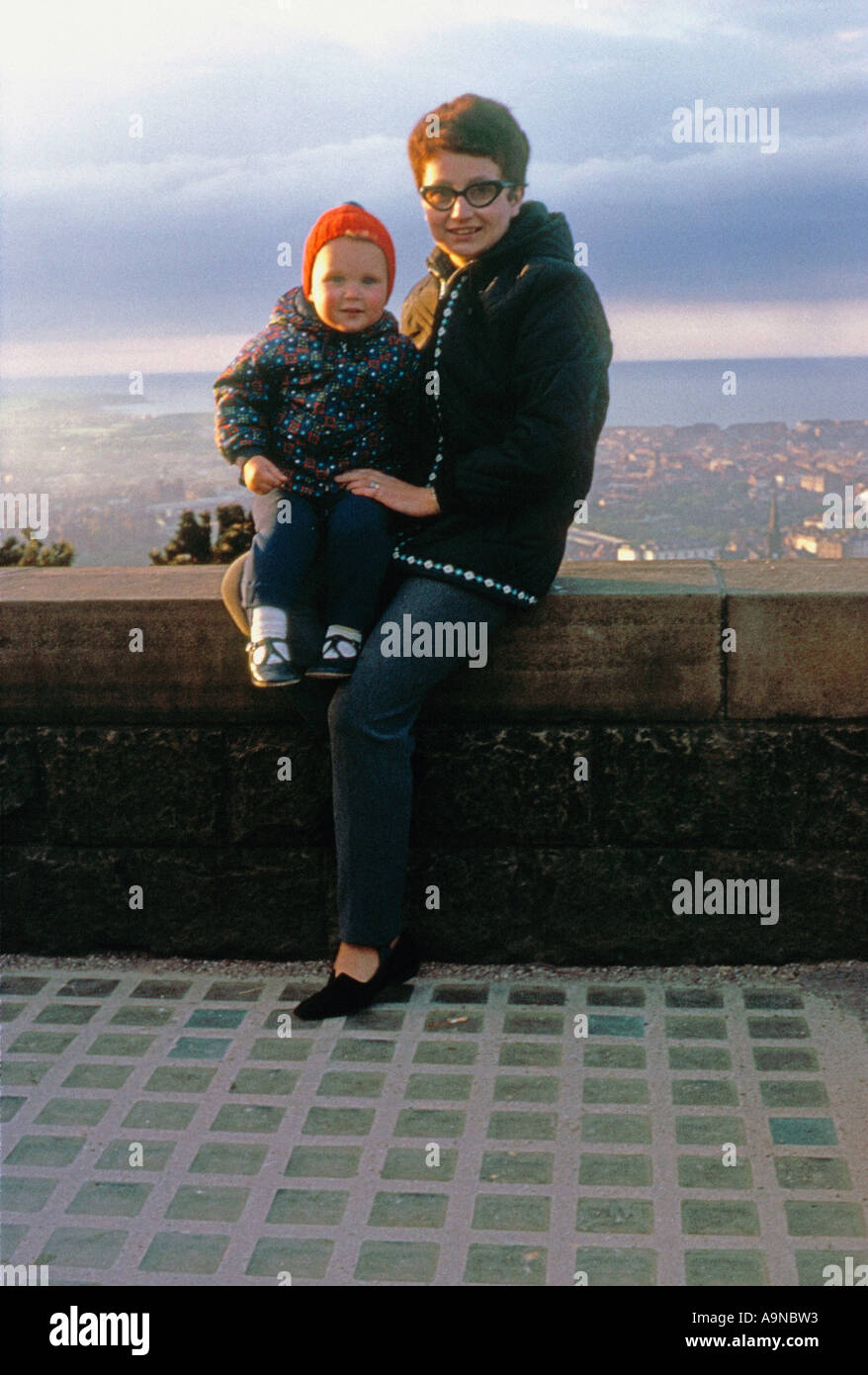 young mother and son during 1960 s - Stock Image