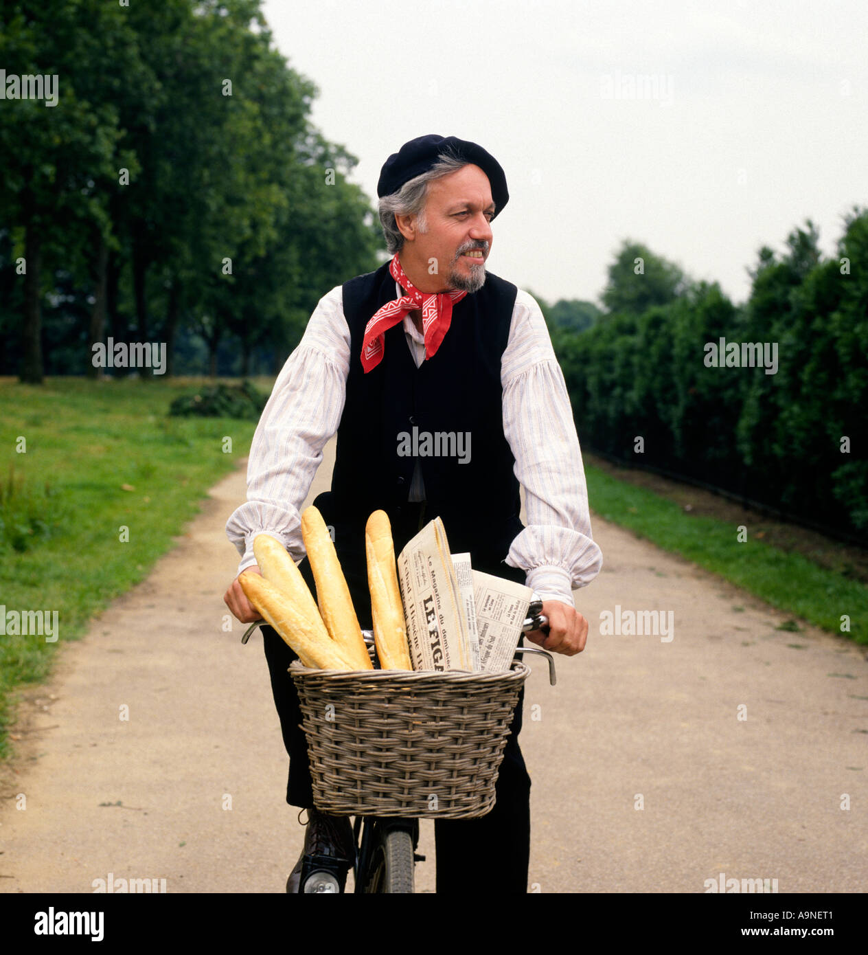 Frenchman cycling down country lane with French Bread Baguettes and Newspaper - Stock Image