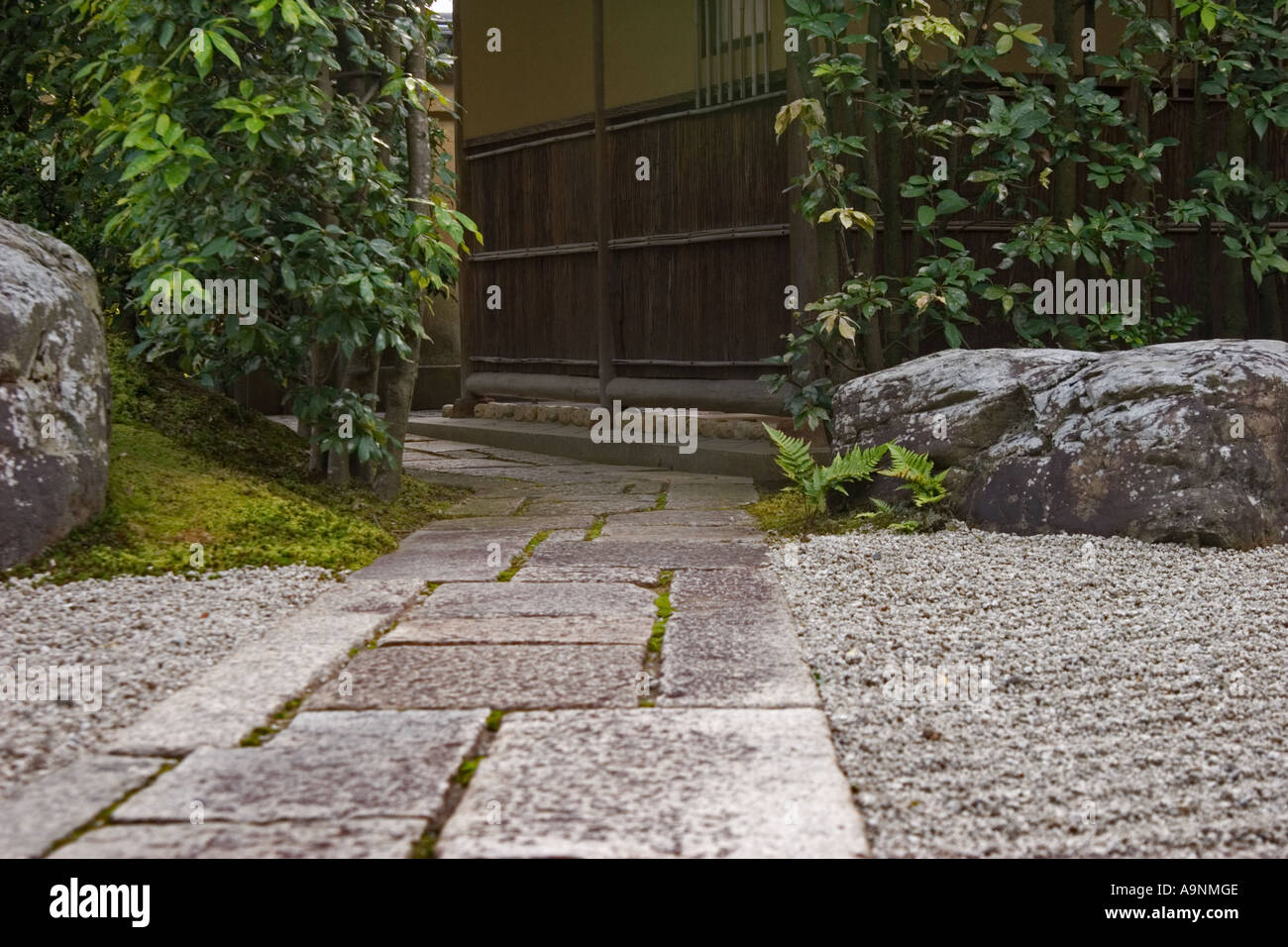 Stone path at Korin-in, which is a subtemple of Daitokuji Temple, Kyoto, Japan - Stock Image