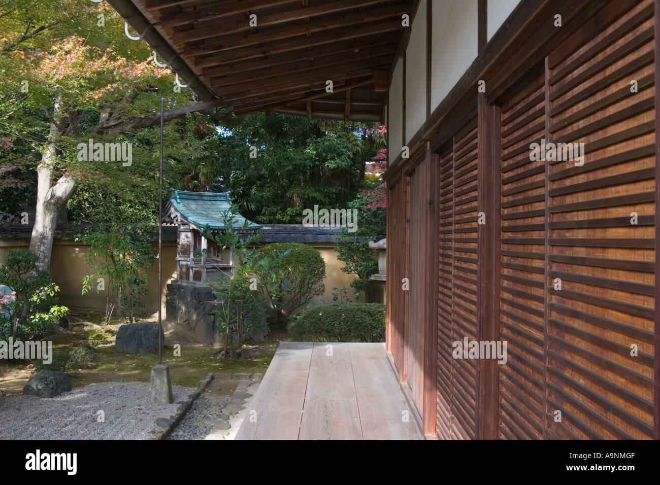 Zen rock garden and veranda at Korin-in, which is a subtemple of Daitokuji Temple, Kyoto, JapanStock Photo