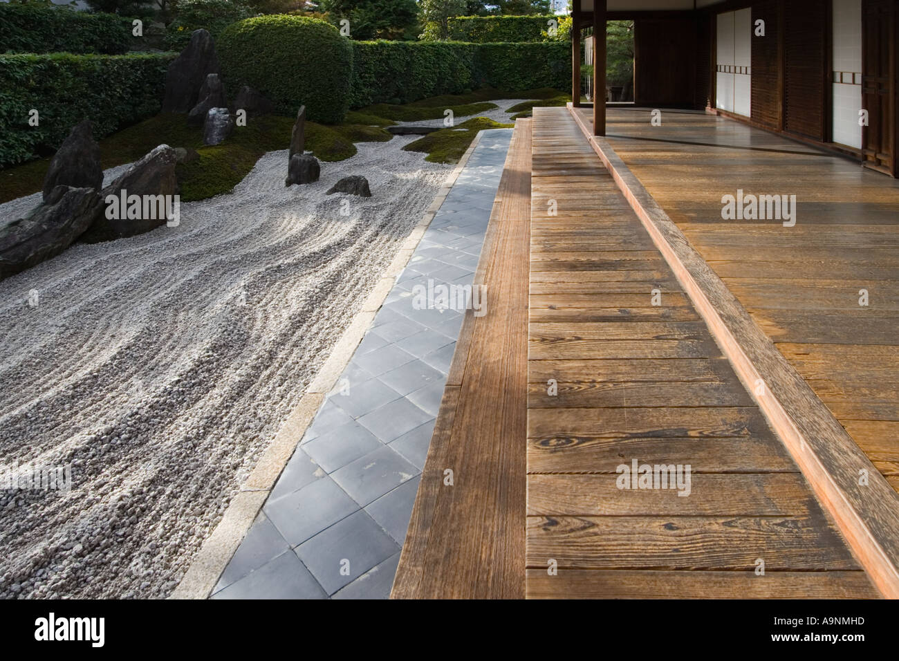 The zen rock garden at Zuiho in which is a subtemple of Daitokuji Temple in Kyoto Kansai Region Japan - Stock Image