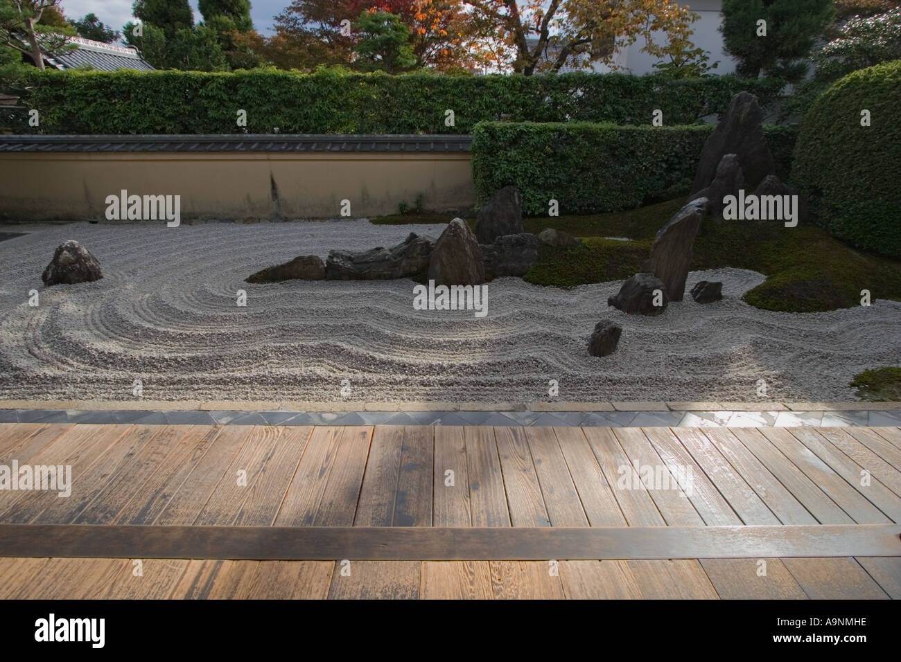 The zen rock garden at Zuiho, in which is a subtemple of Daitokuji Temple in Kyoto, Kansai Region, Japan Stock Photo