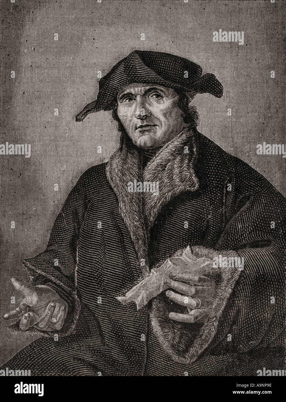 Jean Calvin, 1509 - 1564. French reformer, pastor and theologian.  From Histoire de la Revolution Francaise by Louis Blanc - Stock Image