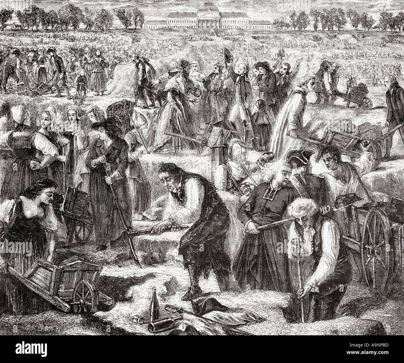 Everyone at work in the Champ de Mars.  From Histoire de la Revolution Francaise by Louis Blanc Stock Photo
