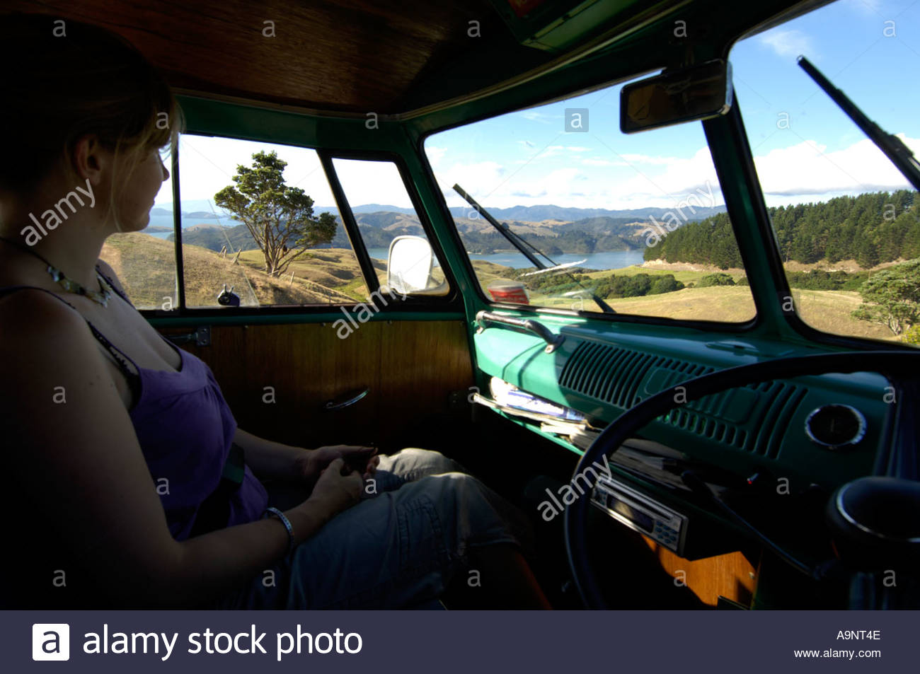 Classic Split Screen Volkswagen Campervan Interior Coromandel Peninsula New Zealand