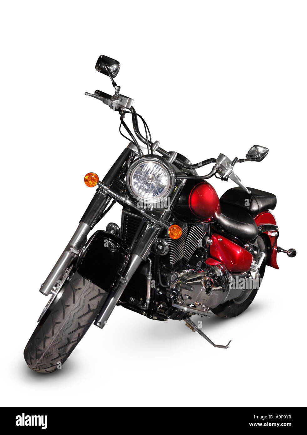 Red motorcycle motorbike bike Isolated over white cutout - Stock Image
