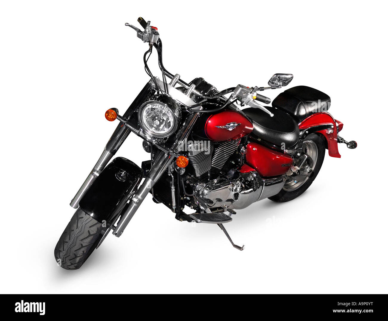 Red motorcycle Suzuki Intruder 1500 motorbike bike Isolated over white cutout - Stock Image