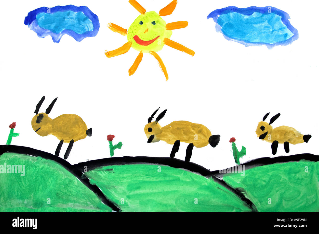Real child drawing (7 year old) portraying a rural scene - Stock Image