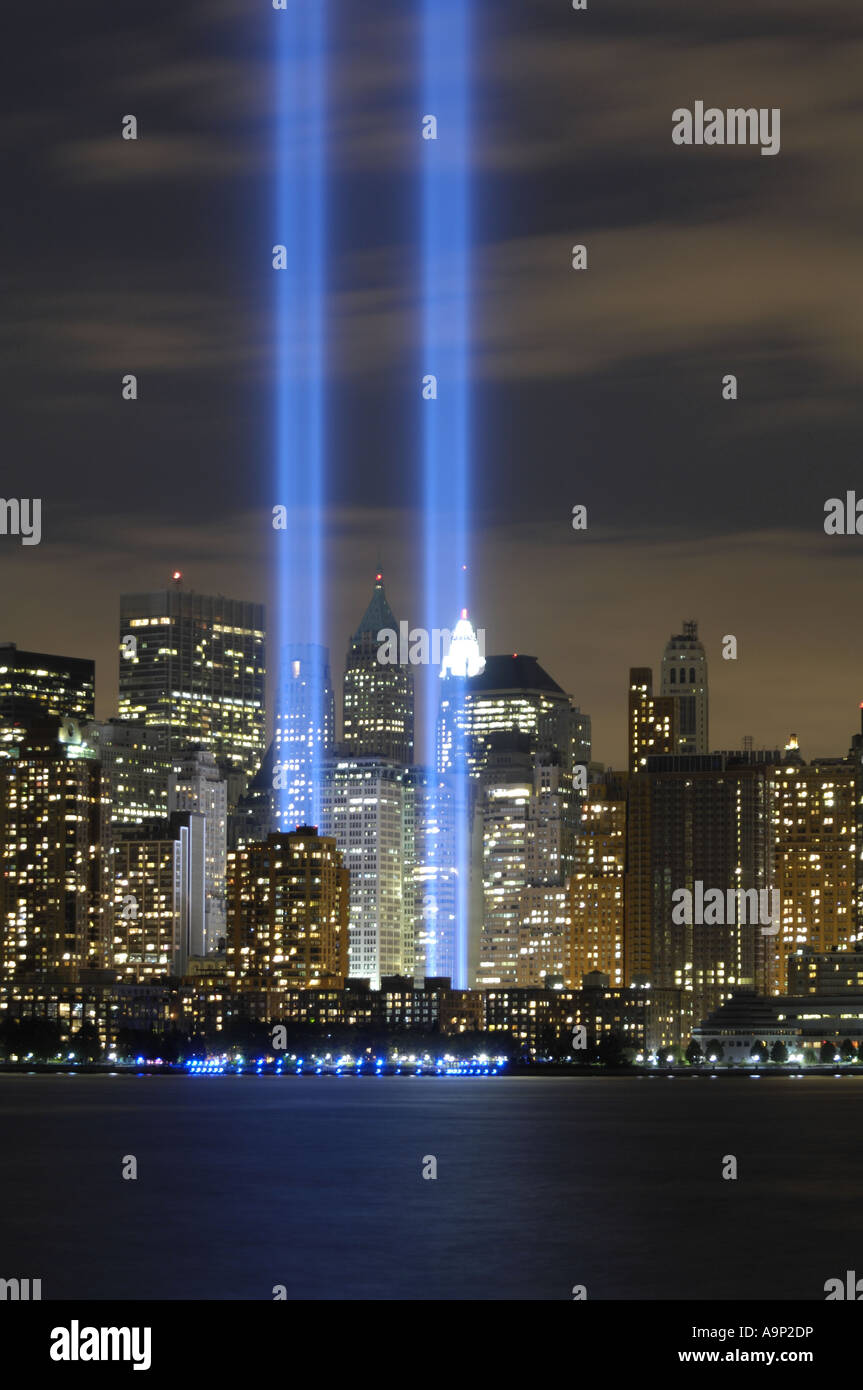 9/11 Fifth Year Anniversary Tribute Lights - Stock Image