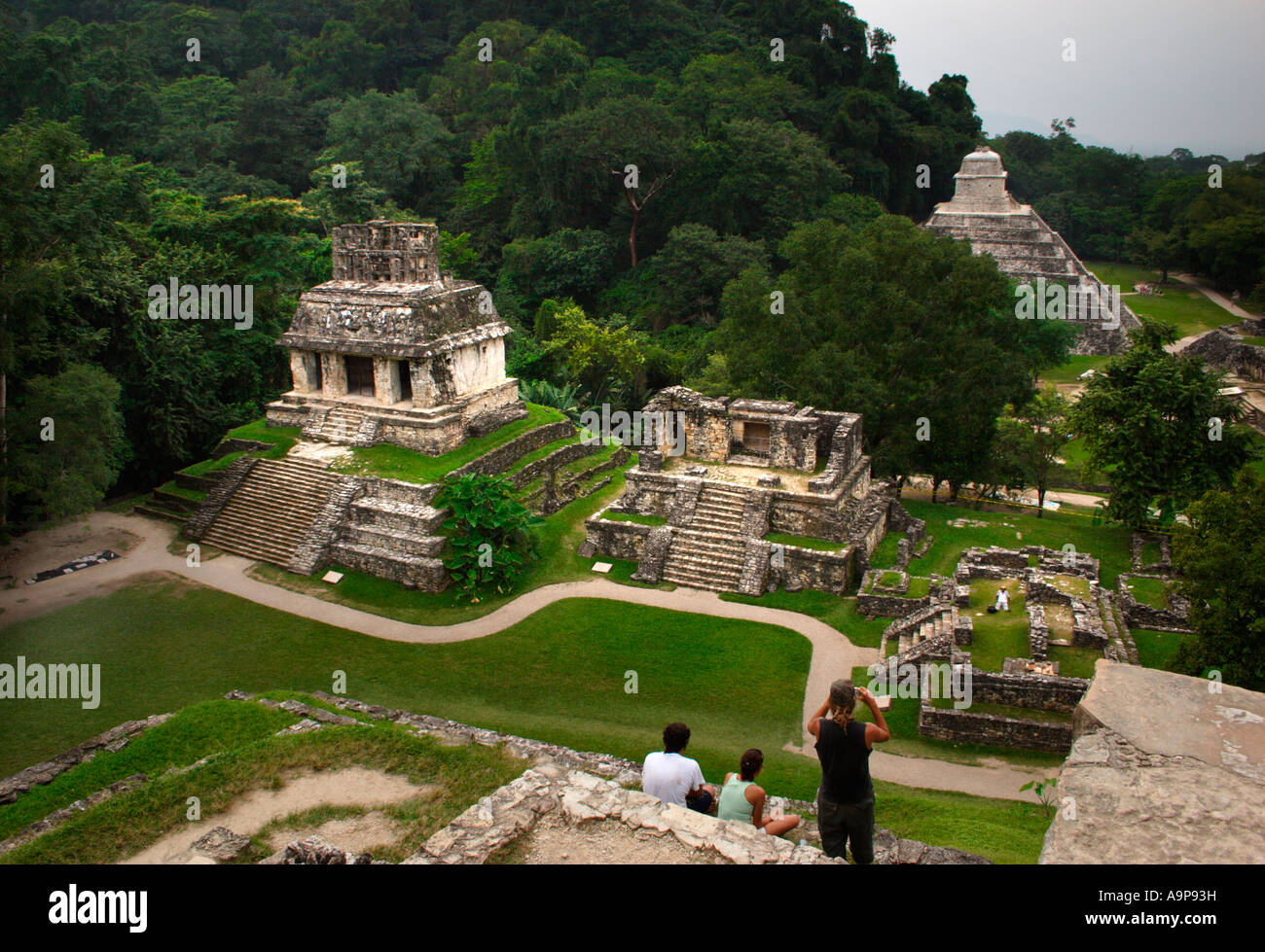 Palenque, Cross group Temples, Mayan archaeological ruin, Chiapas, Mexico - Stock Image