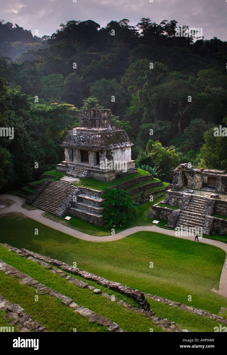Palenque, Temple of the Sun, Mayan archaeological ruin site, Chiapas, Mexico - Stock Image