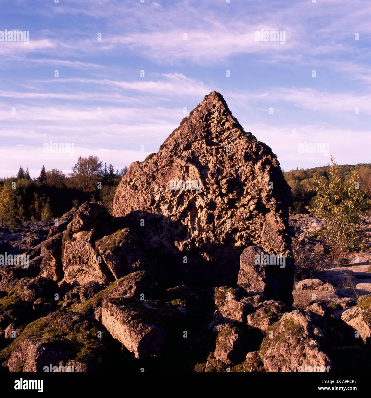 Nisga'a Memorial Lava Bed Provincial Park near New Aiyansh, Northern BC, British Columbia, Canada, Volcanic Rock Formation Field - Stock Image