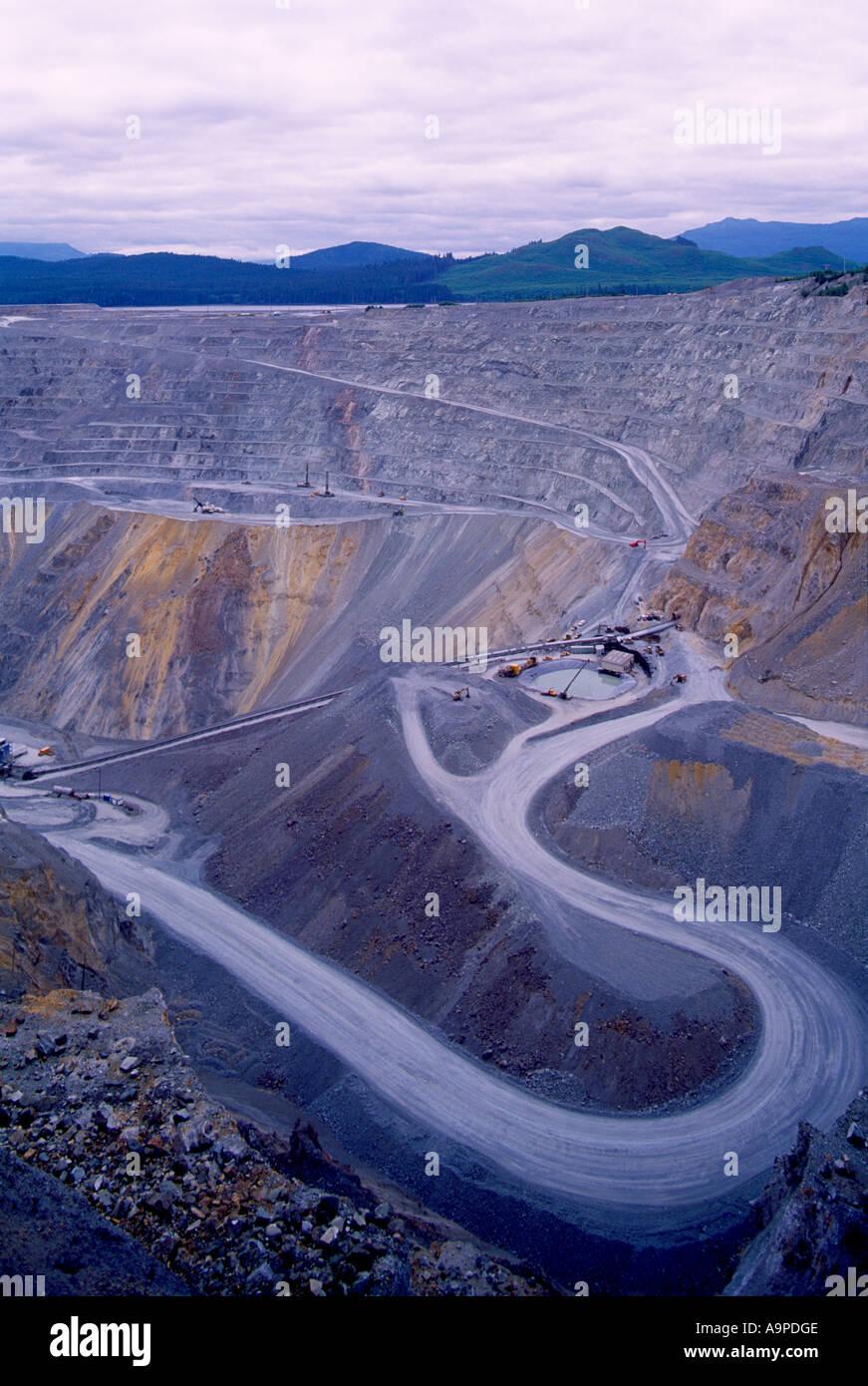 Open Pit Copper Mine, Vancouver Island, BC, British Columbia, Canada